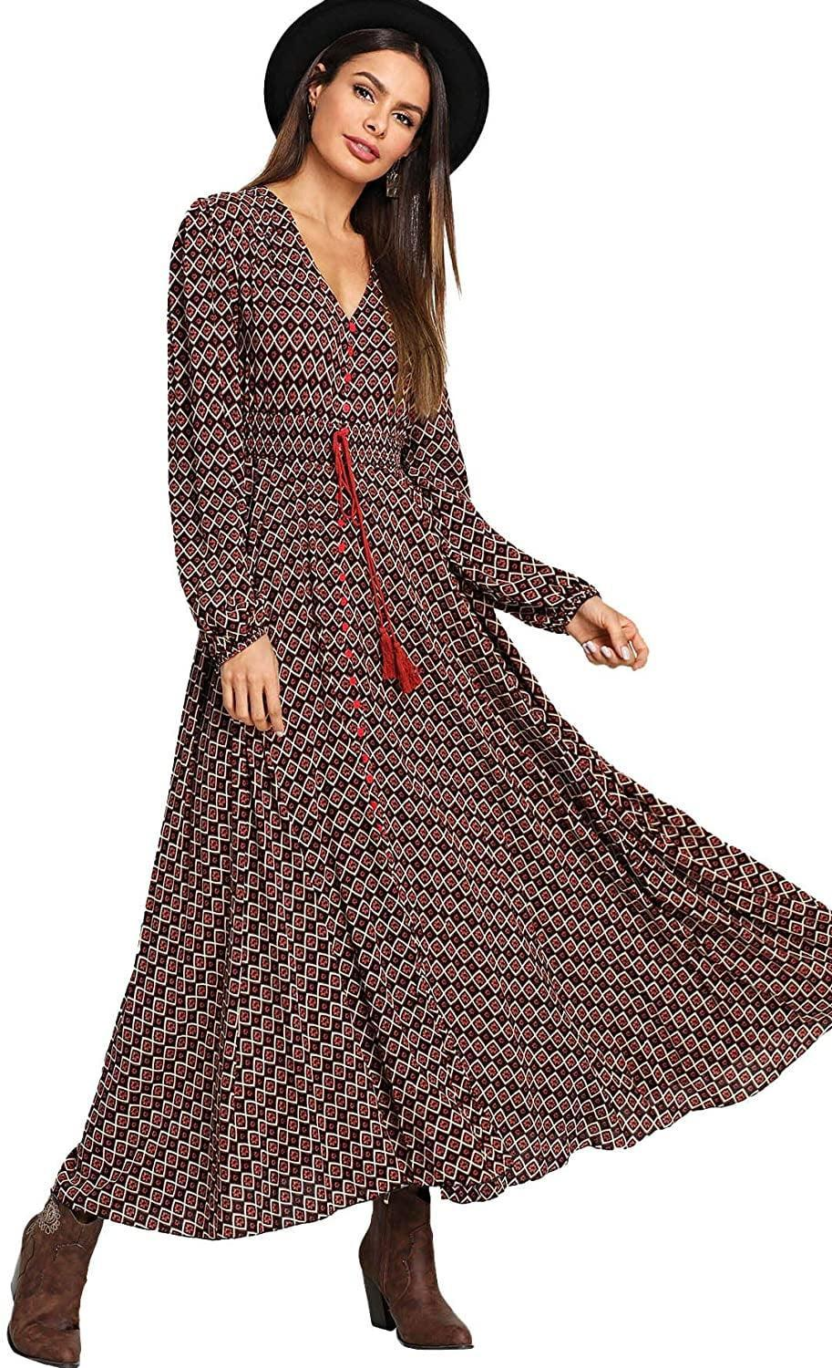 <p>This <span>Milumia Button Up Split Long Sleeve V Neck Maxi Dress</span> ($38) will add a pep in your step.</p>