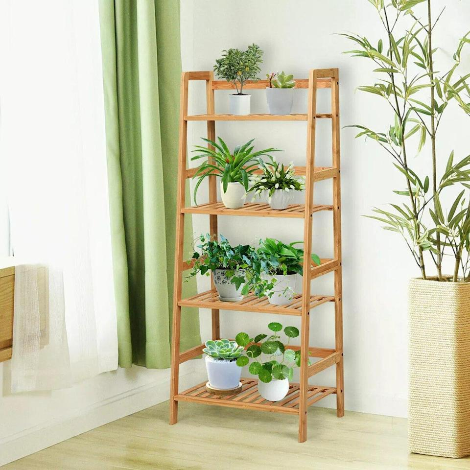 Costway Four-Tier Bamboo Ladder Shelf Multipurpose Plant Display Stand