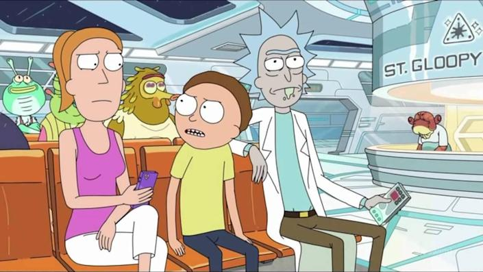 Summer, Morty, and Rick in an alien ER waiting room