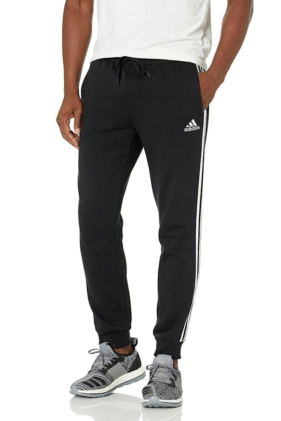 """<p><strong>Adidas</strong></p><p>amazon.com</p><p><strong>$45.00</strong></p><p><a href=""""https://www.amazon.com/dp/B08MKT79VL?tag=syn-yahoo-20&ascsubtag=%5Bartid%7C10054.g.37623756%5Bsrc%7Cyahoo-us"""" rel=""""nofollow noopener"""" target=""""_blank"""" data-ylk=""""slk:Shop Now"""" class=""""link rapid-noclick-resp"""">Shop Now</a></p><p>The Three Stripes never fails to offers high-performance styles that are comfortable, durable, and look damn good. These pants are proof. </p>"""