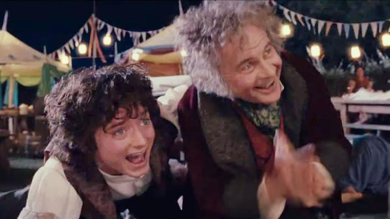 Actor Ian Holm as Bilbo Baggins to Elijah Wood's Frodo Baggins in Lord of the Rings: the Fellowship of the Ring Ian Holm dies