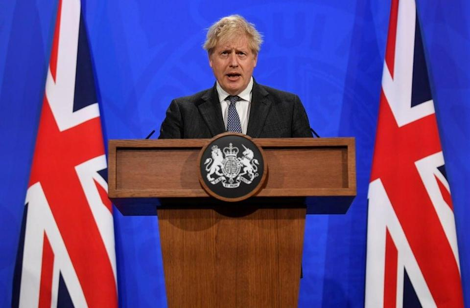 <p>Boris Johnson in the No 9 briefing room</p> (Getty Images)