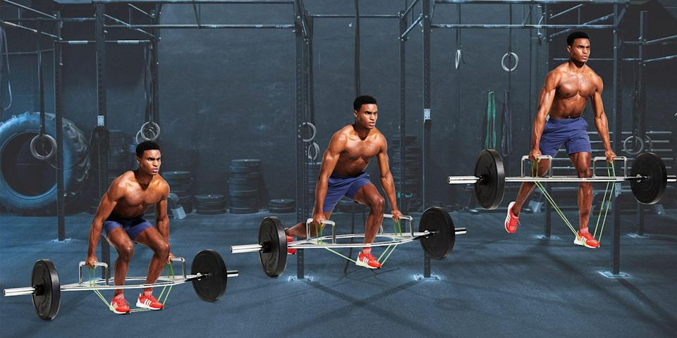 """<p>The deadlift may be the king of lifts, but single-leg variations are stepping up to the plate. Training each leg individually fires up your stabilising muscles and addresses strength imbalances, helping you build new power in your quads, glutes and hamstrings. But what the single-leg deadlift giveth, poor form taketh away. Balancing on one leg is tricky, and adding weight stresses your lower back. </p><p>This move takes care of all that. Grounding your back foot boosts your balance, says strength coach <a href=""""https://www.instagram.com/lukahocevar/?hl=en"""" rel=""""nofollow noopener"""" target=""""_blank"""" data-ylk=""""slk:Luka Hocevar"""" class=""""link rapid-noclick-resp"""">Luka Hocevar</a>, while the trap bar brings the weight closer to your centre of gravity. The band adds tension only at the top of the rep, where you're least susceptible to injury, Hocevar continues.</p><p>Aim for eight reps per leg, controlling your descent for three seconds, before exploding back up. Tackle three sets, twice a week, to bulletproof your lower-body strength, one rep at a time.</p>"""