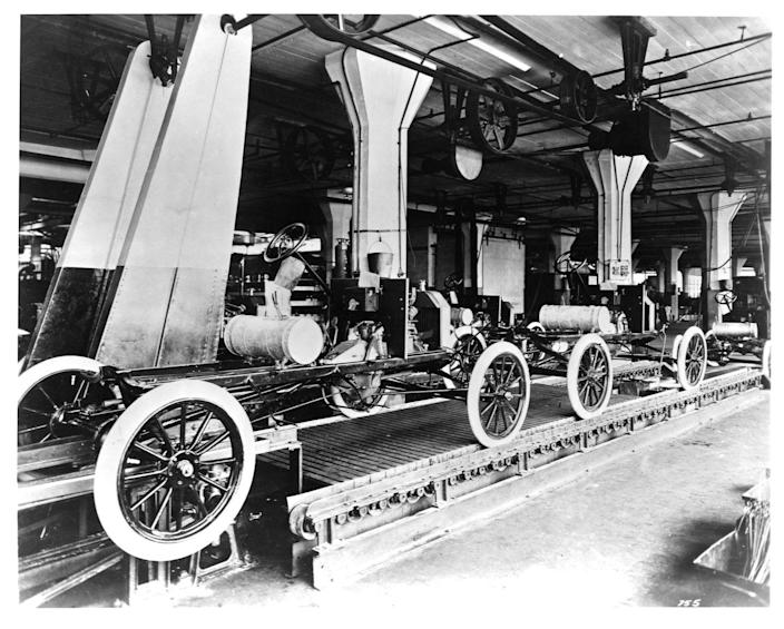 """<p>The Model T from Henry Ford created a more affordable vehicle, opening up a new style of transportation to more people. But the process of making the Model T, <a href=""""https://corporate.ford.com/articles/history/moving-assembly-line.html"""" rel=""""nofollow noopener"""" target=""""_blank"""" data-ylk=""""slk:with the first moving assembly line"""" class=""""link rapid-noclick-resp"""">with the first moving assembly line</a>, also revolutionized manufacturing processes and reduced prices for the self-starting Model T.</p>"""