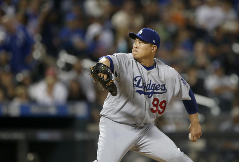 NEW YORK, NEW YORK - SEPTEMBER 14: Hyun-Jin Ryu #99 of the Los Angeles Dodgers in action against the New York Mets at Citi Field on September 14, 2019 in New York City. The Mets defeated the Dodgers 3-0. (Photo by Jim McIsaac/Getty Images)