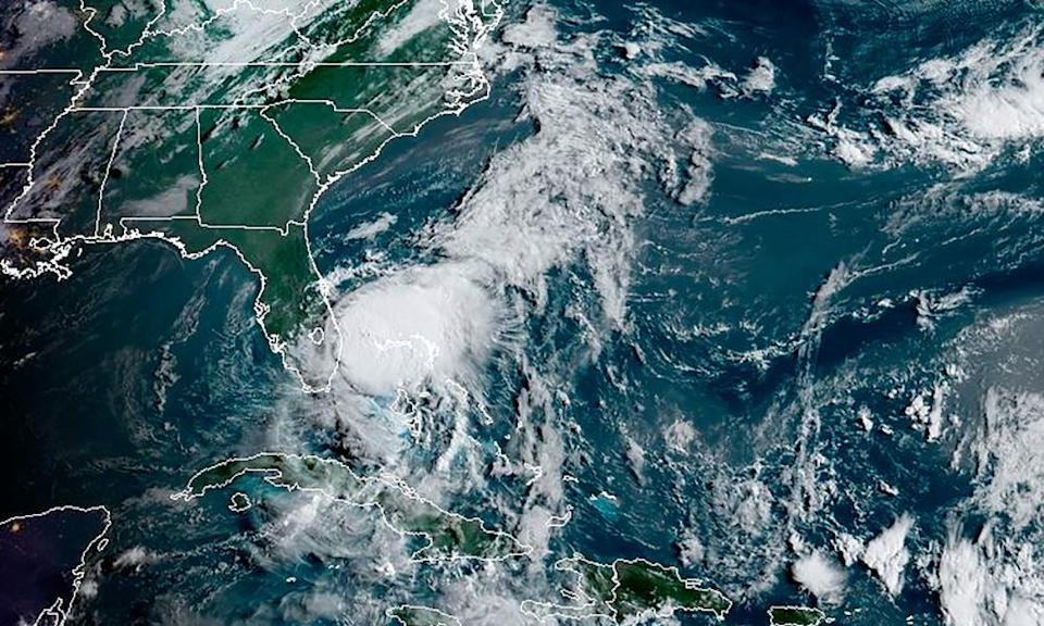 A satellite image on Sunday of Isaias off the south-east coast of Florida in the Atlantic Ocean.