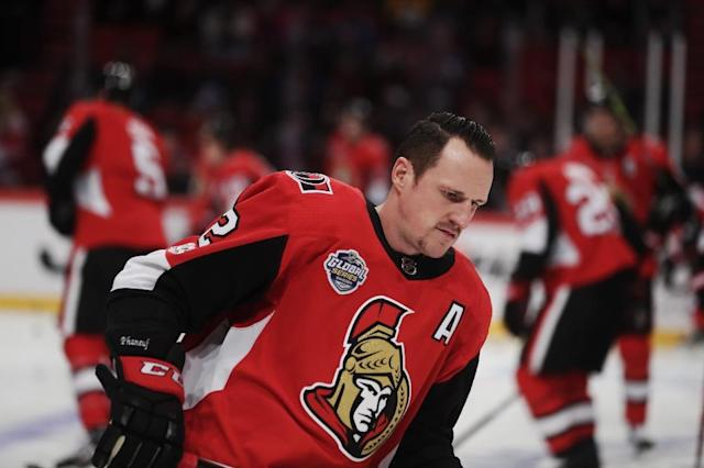 Over 13 NHL seasons with the Calgary Flames, Toronto Maple Leafs and Ottawa, Dion Phaneuf has 133 goals and 345 assists and 1,277 penalty minutes (AFP Photo/Nils Petter Nilsson/Ombrello)