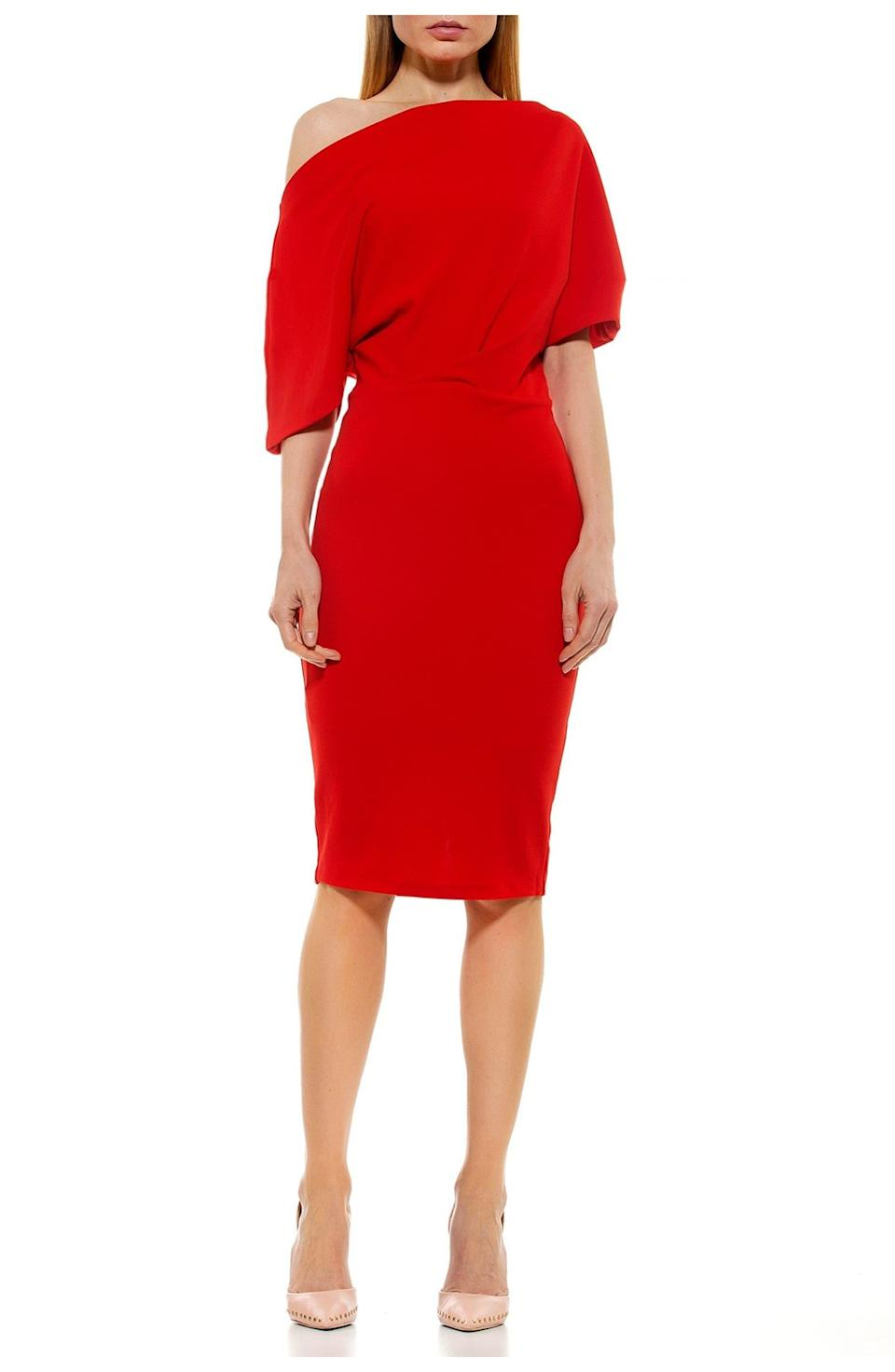 """<h2>Alexia Admor Olivia Draped Sheath Dress</h2><br>Got a wedding (or two) to attend on the horizon and not sure what to wear? Your search stops right here, with this elegant sheath dress featuring an ultra-glam off-the-shoulder silhouette and hundreds of happy reviews.<br><br><strong>The Hype:</strong> 4.2 out of 5 stars; 358 reviews on NordstromRack.com<br><br><strong>What They're Saying:</strong> """"Dress is awesome, it draped the shoulder perfectly. It hugs your curves so if you want a loose dress this may not be what you want. Color was perfect. Nice feeling material."""" — cjordana, NordstromRack.com reviewer<br><br><strong>Alexia Admor</strong> Olivia Draped Off-the-Shoulder Sheath Dress, $, available at <a href=""""https://go.skimresources.com/?id=30283X879131&url=https%3A%2F%2Fwww.nordstromrack.com%2Fs%2Falexia-admor-olivia-draped-off-the-shoulder-sheath-dress%2F5979725"""" rel=""""nofollow noopener"""" target=""""_blank"""" data-ylk=""""slk:Nordstrom Rack"""" class=""""link rapid-noclick-resp"""">Nordstrom Rack</a>"""