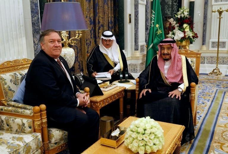 "US Secretary of State Mike Pompeo meets Saudi King Salman (R) in Riyadh on October 16, 2018 after being dispatched by President Donald Trump to hold ""face to face meetings with the Saudi leadership"" on the fate of missing journalist Jamal Khashoggi"