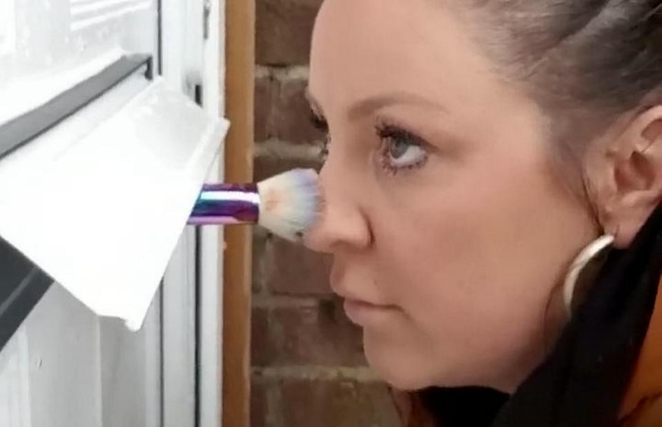 A make-up artist has hilariously tested whether she can continue to carry out appointments if people were to self-quarantine [Image: SWNS]