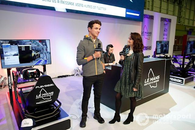 """Lando Norris, McLaren is interviewed on the Le Mans eSports Series stand <span class=""""copyright"""">Zak Mauger / Motorsport Images</span>"""