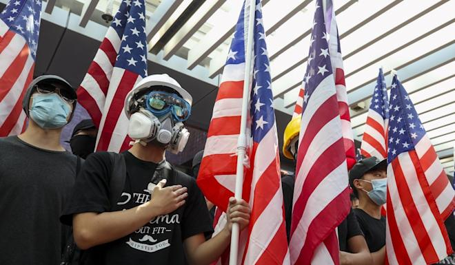 Hong Kong University students pictured at a September protest urging the US to pass the human rights bill. Photo: Winson Wong