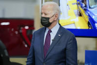 President Joe Biden tours the Ford Rouge EV Center, Tuesday, May 18, 2021, in Dearborn, Mich. (AP Photo/Evan Vucci)
