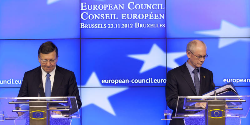 European Commission President Jose Manuel Barroso, left, and European Council President Herman Van Rompuy participtate in a media conference after an EU summit in Brussels on Friday, Nov. 23, 2012. The prospect of failure hangs over a European Union leaders' summit intended to lay out the 27-country bloc's long-term spending plans. While heavyweights like Britain and France are pulling in opposite directions, smaller members are threatening to veto a deal to make themselves heard. (AP Photo/Virginia Mayo)