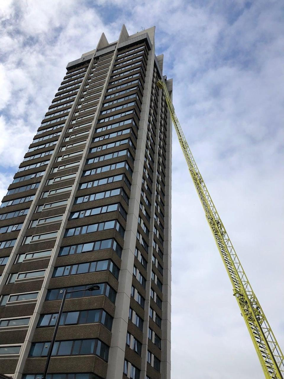 Ten storeys and going strong: the ladder can reach to about 21 storeys (Ross Lydall)