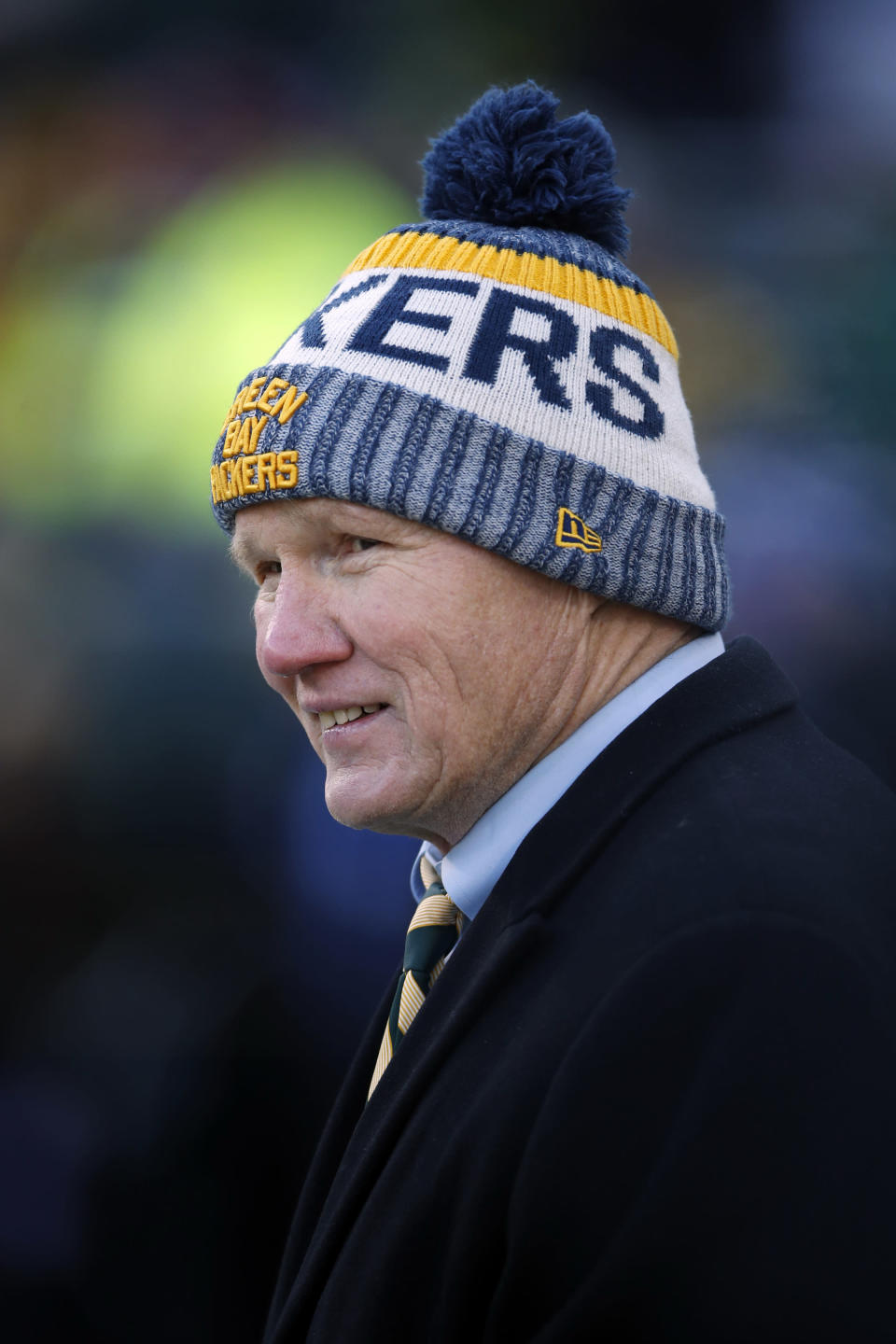 FILE - In this Dec. 15, 2019, file photo, Green Bay Packers president and CEO Mark Murphy walks the sideline before an NFL football game between the Chicago Bears and the Packers in Green Bay, Wis. Murphy remains hopeful quarterback Aaron Rodgers the three-time MVP will play for them this season, but says he does not know whether Rodgers will arrive for the start of training camp. (AP Photo/Jeff Haynes, File)