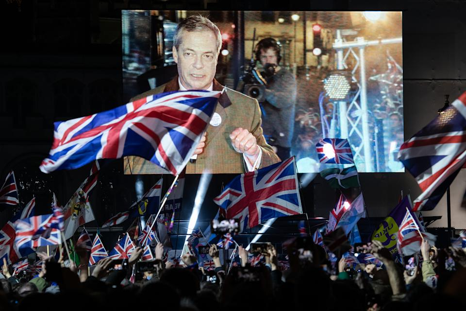 LONDON, ENGLAND - JANUARY 31: Brexit Party leader Nigel Farage addresses Pro Brexit supporters as the United Kingdom prepares to exit the EU during the Brexit Day Celebration Party hosted by Leave Means Leave at Parliament Square on January 31, 2020 in London, England. At 11.00pm on Friday 31st January the UK and Northern Ireland exits the European Union, 188 weeks after the referendum on June 23rd, 2016. (Photo by Leon Neal/Getty Images)