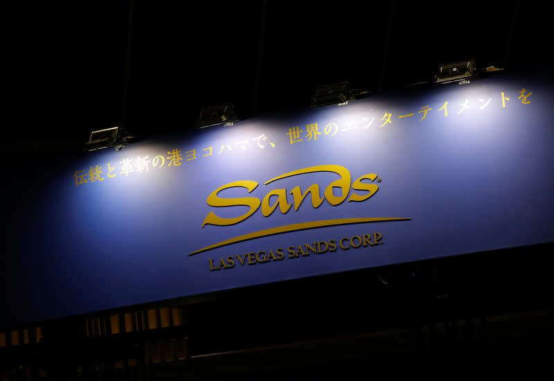 The logo of Las Vegas Sands Corp is pictured at the Japan IR EXPO in Yokohama