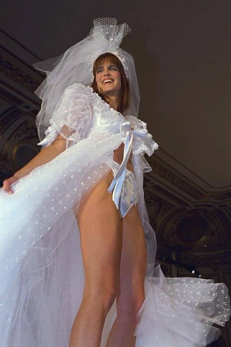 Stephanie Seymour at the 1996 Victoria's Secret Valentine Fashion Show, inside the Plaza Hotel in New York.