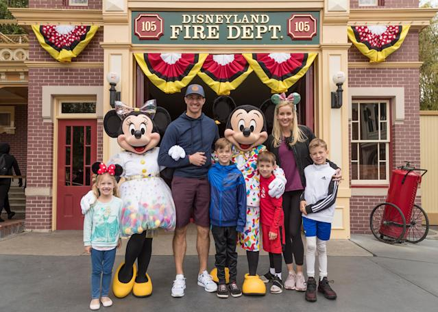 Drew Brees, his wife Brittany, and their four children (L-R) Rylen, Bowen, Callen, and Baylen, pose with Mickey Mouse and Minnie Mouse while vacationing at Disneyland Park on March 11, 2019 in Anaheim, California. Mickey and Minnie sported their outfits for Get Your Ears On A Mickey and Minnie Celebration taking place at Disneyland Resort. (Photo by Joshua Sudock/Disneyland Resort via Getty Images)