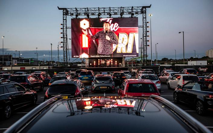 The Drive In Club launches in Brent Cross with comedian Jason Manford live in front of a car packed audience - Jeff Gilbert