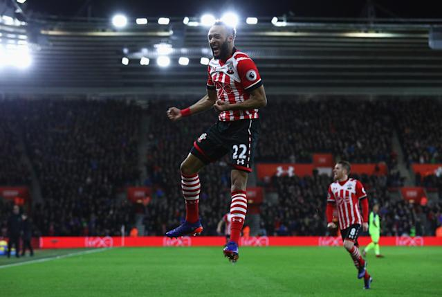 <p>Nathan Redmond celebrates giving Southampton the lead (Getty Images) </p>
