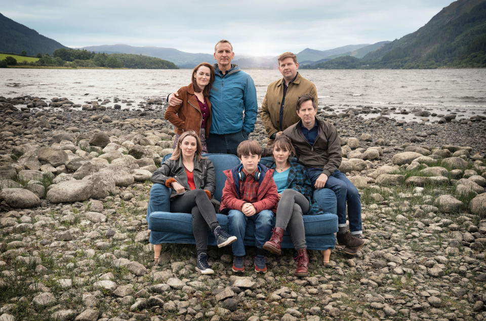 Alison Hughes (MORVEN CHRISTIE), Joe Hughes (MAX VENTO), Rebecca Hughes (MOLLY WRIGHT), Paul Hughes (LEE INGLEBY), Louise Wilson (POOKY QUESNEL), Maurice Scott (CHRISTOPHER ECCLESTON), Edwin (Eddie) Scott (GREG MCHUGH) - (Fifty Fathoms - Photographer: Ben Blackall)