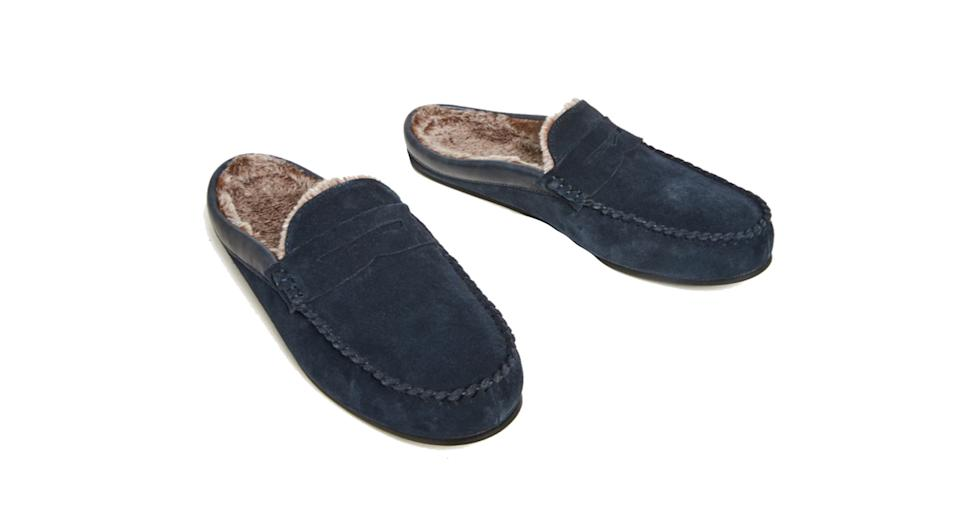 Suede Fleece Lined Mule Moccasins