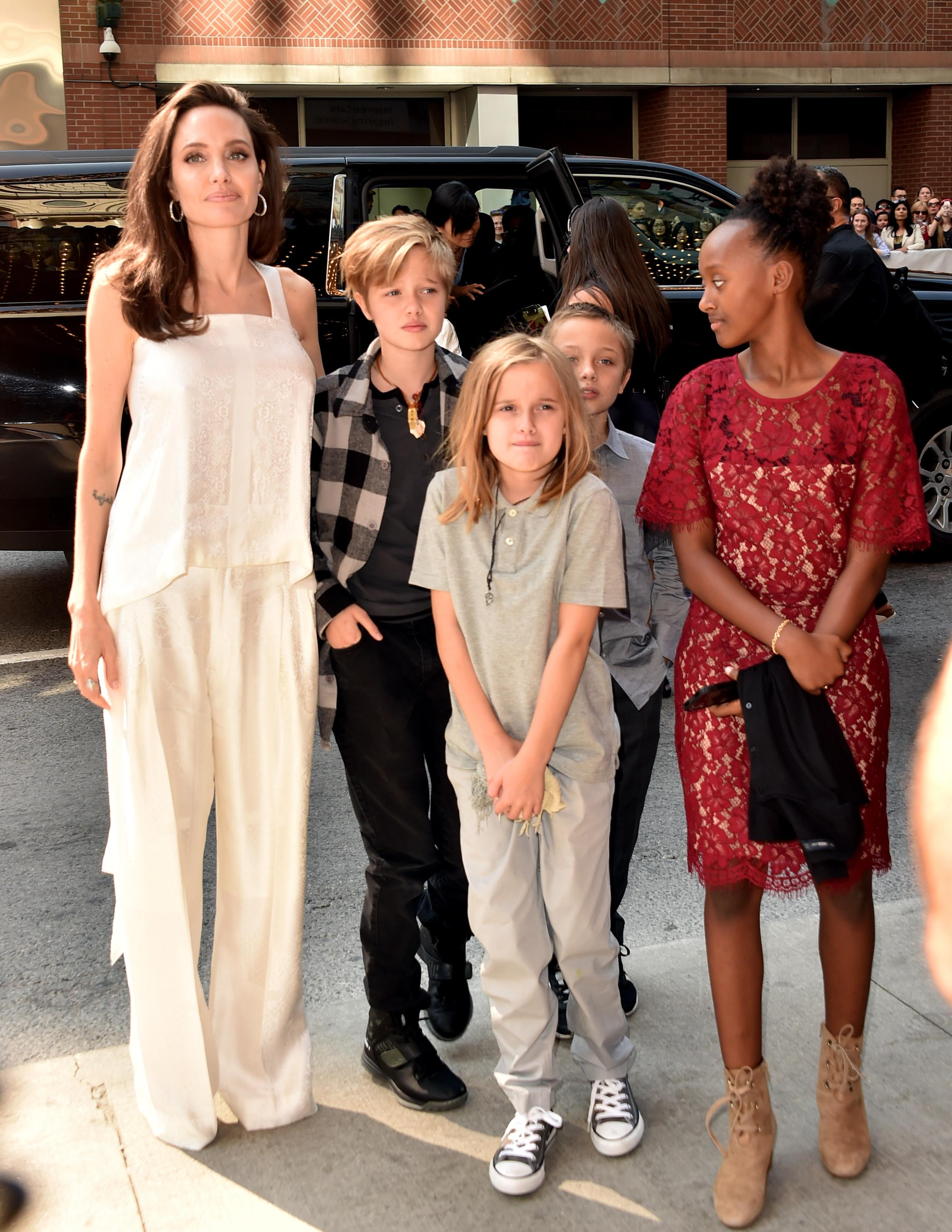 The actress was joined by five of her six children on the red carpet.