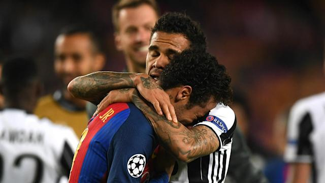 Barcelona's Champions League exit to Juventus saw Dani Alves console Brazil team-mate Neymar, who was distraught at the final whistle.