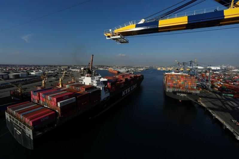 A container ship arrives at Yusen Terminals at the Port of Los Angeles