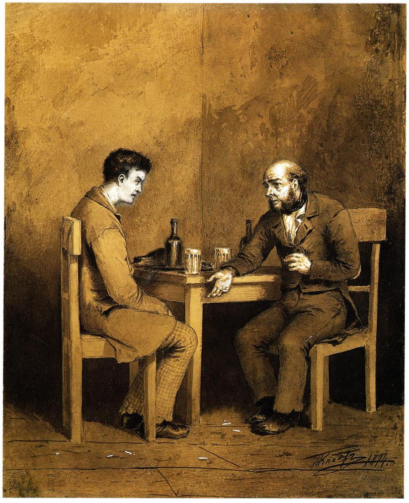 An illustration of Raskolnikov and Marmeladov. for Crime and Punishment (1874), by Mikhail Petrovich Klodt.