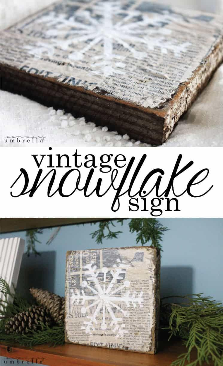 """<p>Glue strips of newspaper to pieces of scrap wood. Cover with Mod Podge and use a stencil to paint on snowflakes for a shabby and chic vintage-looking wintertime decor piece.</p><p><em><a href=""""https://thesummeryumbrella.com/diy-vintage-snowflake-sign/"""" rel=""""nofollow noopener"""" target=""""_blank"""" data-ylk=""""slk:Get the tutorial at LZ Cathcart Design & Inspiration"""" class=""""link rapid-noclick-resp"""">Get the tutorial at LZ Cathcart Design & Inspiration</a></em></p>"""