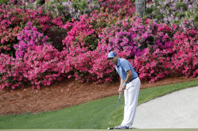 Sergio Garcia of Spain looks at his putt on the 13th hole during the final day of practice for the 2018 Masters golf tournament at Augusta National Golf Club in Augusta, Georgia, U.S. April 4, 2018. REUTERS/Jonathan Ernst