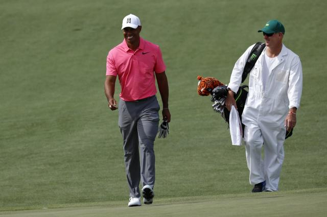 Tiger Woods of the U.S. walks up the second green during practice for the 2018 Masters golf tournament at Augusta National Golf Club in Augusta, Georgia, U.S. April 2, 2018. REUTERS/Mike Segar