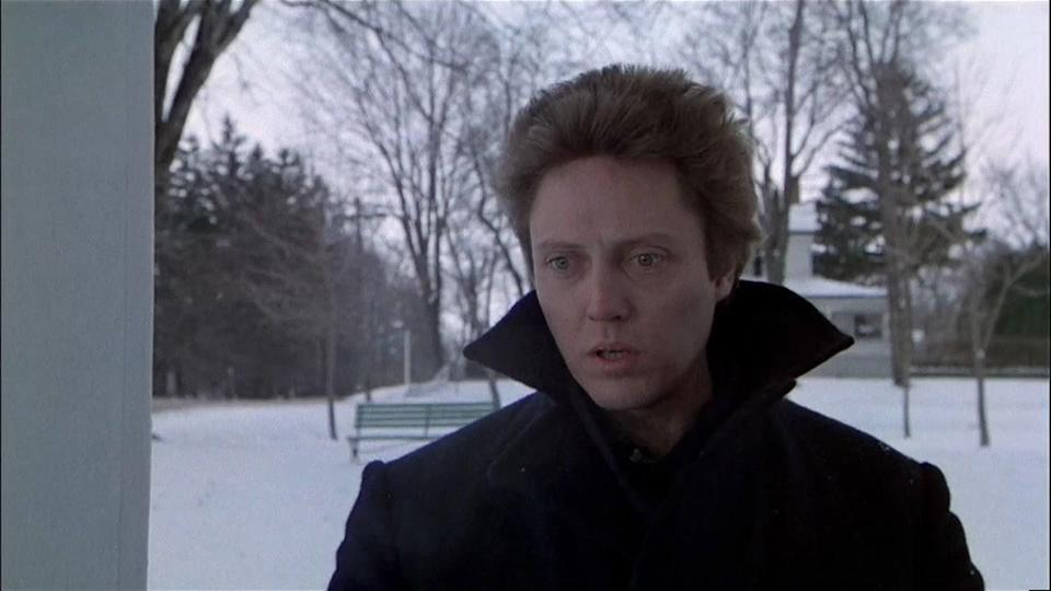 Christopher Walken outside in the cold wearing a jacket