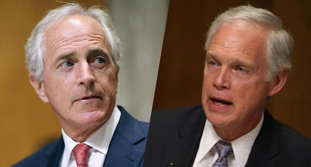 Sens. Bob Corker, R-Tenn., and Ron Johnson, R-Wis. (Photos: Chip Somodevilla/Getty Images, Mark Wilson/Getty Images)