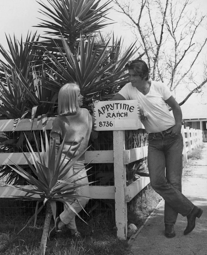 <p>James Brolin at home on his Appytime ranch in California with wife, Jane Cameron Agee, in 1970.</p>