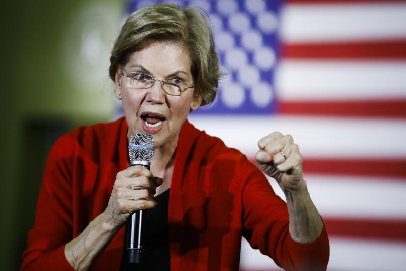 Democratic presidential candidate Sen. Elizabeth Warren, D-Mass., speaks during a campaign event, Sunday, Jan. 26, 2020, in Cedar Rapids, Iowa. (AP Photo/Matt Rourke)
