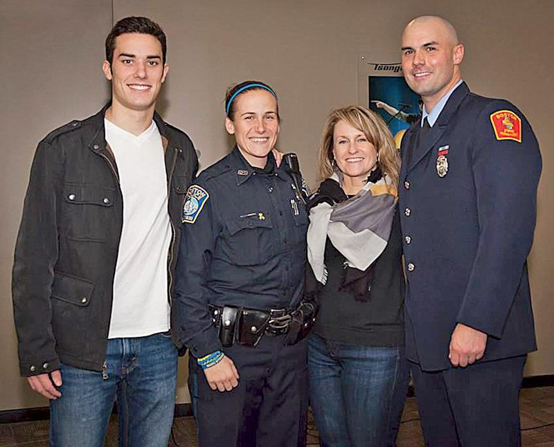 From left: Shores Salter, Boston police officer Shana Cottone, Roseann Sdoia and Boston firefighter Mike Materia. (Mark Duffy)