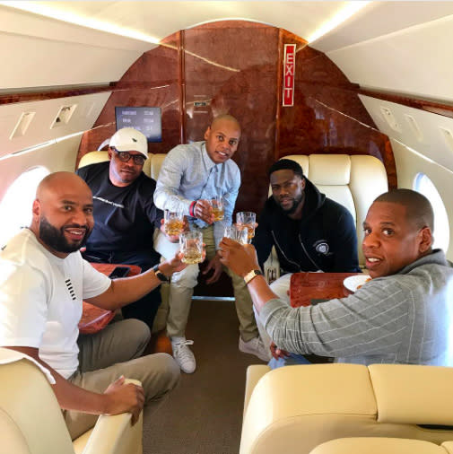 "<p>The comedian and his pals, including Jay Z, hopped a private jet to Oakland, Calif., for Game 1 of the NBA Finals, in which the Golden State Warriors beat the Cleveland Cavaliers 113-91, because that's what extremely rich people do. ""#Family, #NBAFINALS, #livelovelaugh,"" wrote Hart. (Photo: <a rel=""nofollow"" href=""https://www.instagram.com/p/BU0XF_3DaVb/"">Kevin Hart via Instagram</a>) </p>"