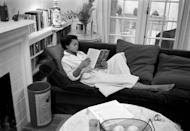 """<p>Eartha Kitt reclines inside her bungalow in Beverly Hills. Kitt later moved to an estate in Connecticut, where she was an urban farmer. """"It was a little embarrassing to have a mother who raised chickens in the backyard, grew organic vegetables and kept a compost pail on the kitchen counter."""" Her daughter, Kitt Shapiro told <a href=""""https://www.dailynews.com/2013/07/31/kitt-shapiro-daughter-of-eartha-kitt-honors-her-mother-with-lifestyle-collection-of-home-items/"""" rel=""""nofollow noopener"""" target=""""_blank"""" data-ylk=""""slk:Daily News"""" class=""""link rapid-noclick-resp"""">Daily News</a>. """"But she believed that whatever you take from the earth you put back. You don't pollute it, you respect it.""""</p>"""