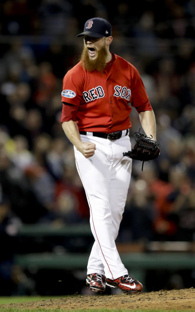 Boston Red Sox relief pitcher Craig Kimbrel celebrates after the team's 5-4 win against the New York Yankees during Game 1 of a baseball American League Division Series on Friday, Oct. 5, 2018, in Boston. (AP Photo/Charles Krupa)