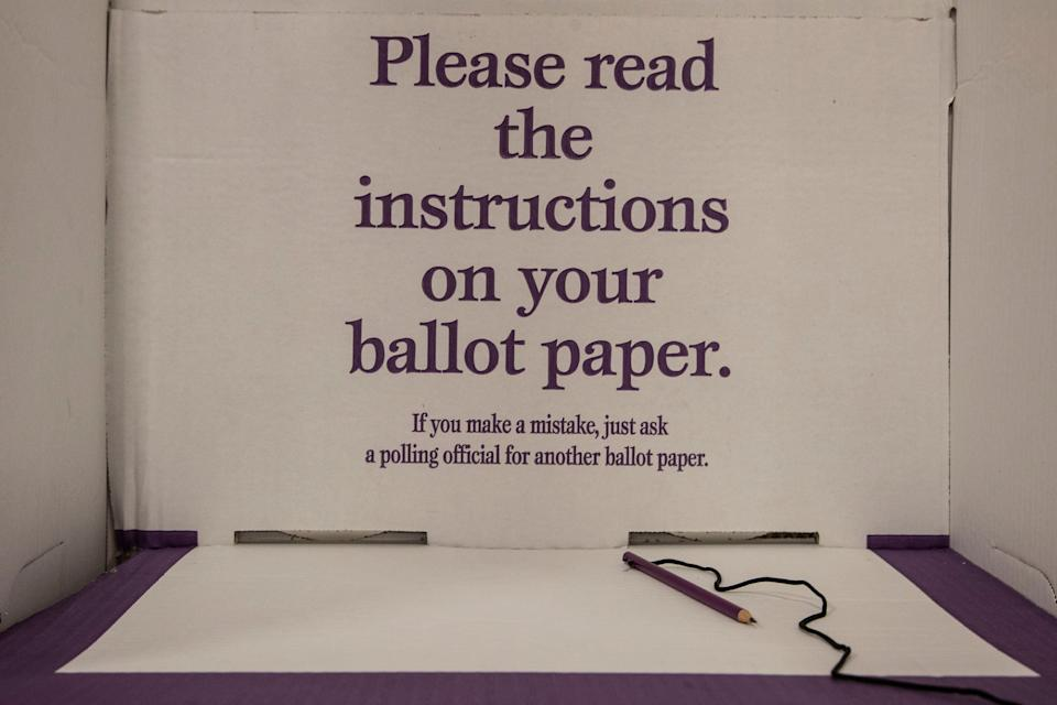Federal election 2019: An empty polling booth showing a pencil at the ready. Source: Getty Images
