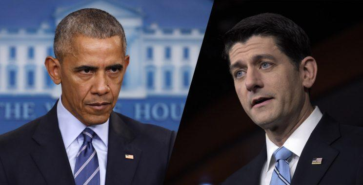 House Speaker Paul Ryan, right, said that President Barack Obama's actions against Russia should have come much sooner. (Photos: Pablo Martinez Monsivais/AP, Susan Walsh/AP)