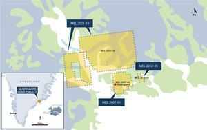 Location of Skaergaard Mineral Exploration Licences in eastern Greenland