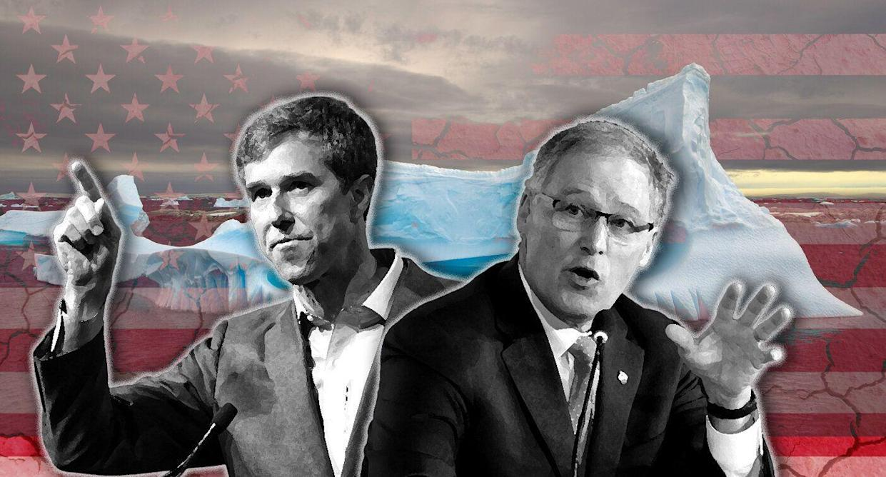 Beto O'Rourke and Jay Inslee on climate change. (Photo illustration: Yahoo News; photos: AP(3), Getty Images(2).