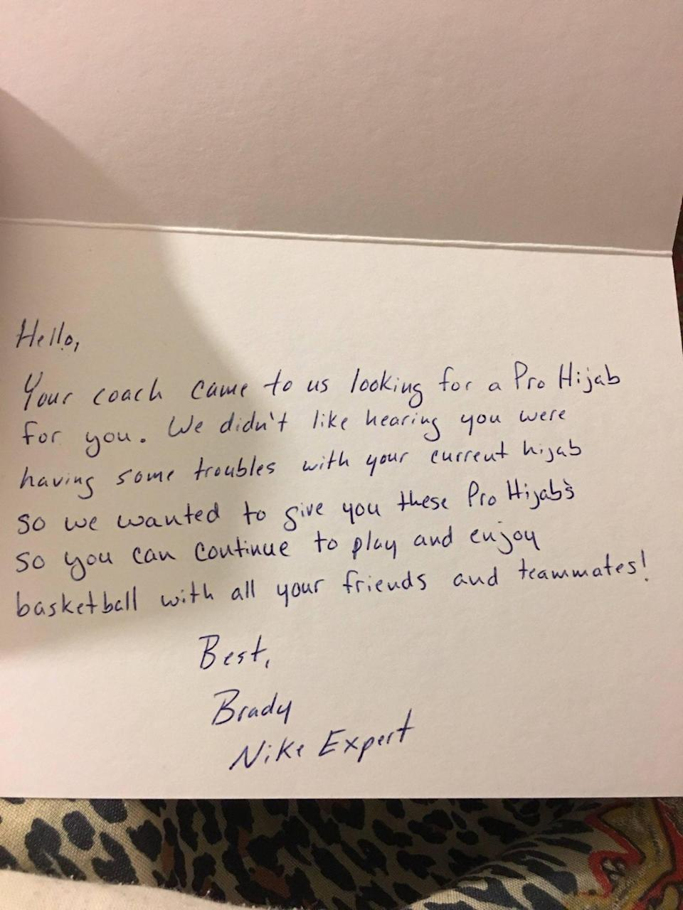 The letter Camrin Hampton received from 'Brady,' the mysterious Nike customer service agent whose good deed provided her the hijab she needed to keep playing basketball. (Photo via Camrin Hampton)