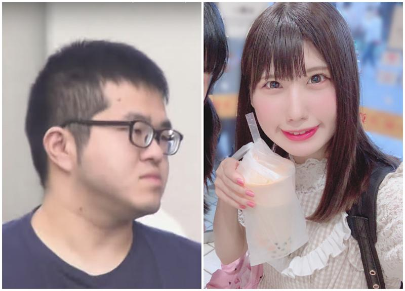 J-pop star Ena Matsuoka (right) and her stalker. (Photos: Twitter/Ena Matsuoka, YouTube screenshot)
