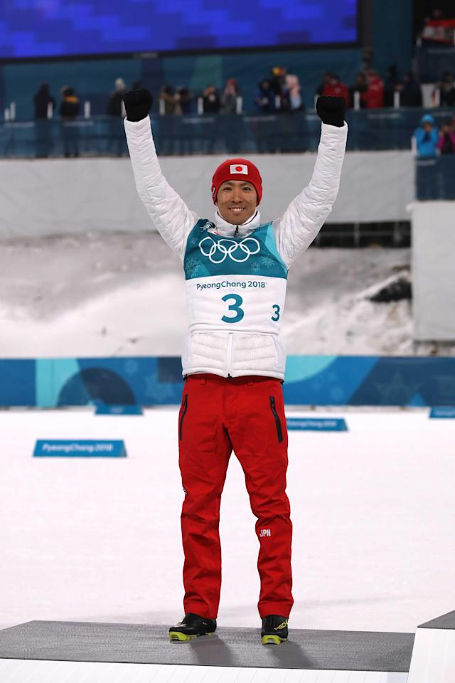 Nordic Combined Events - Pyeongchang 2018 Winter Olympics – Men's Individual 10km Final – Alpensia Cross-Country Skiing Centre - Pyeongchang, South Korea – February 14, 2018. Silver medalist Akito Watabe of Japan celebrates during the victory ceremony. REUTERS/Carlos Barria
